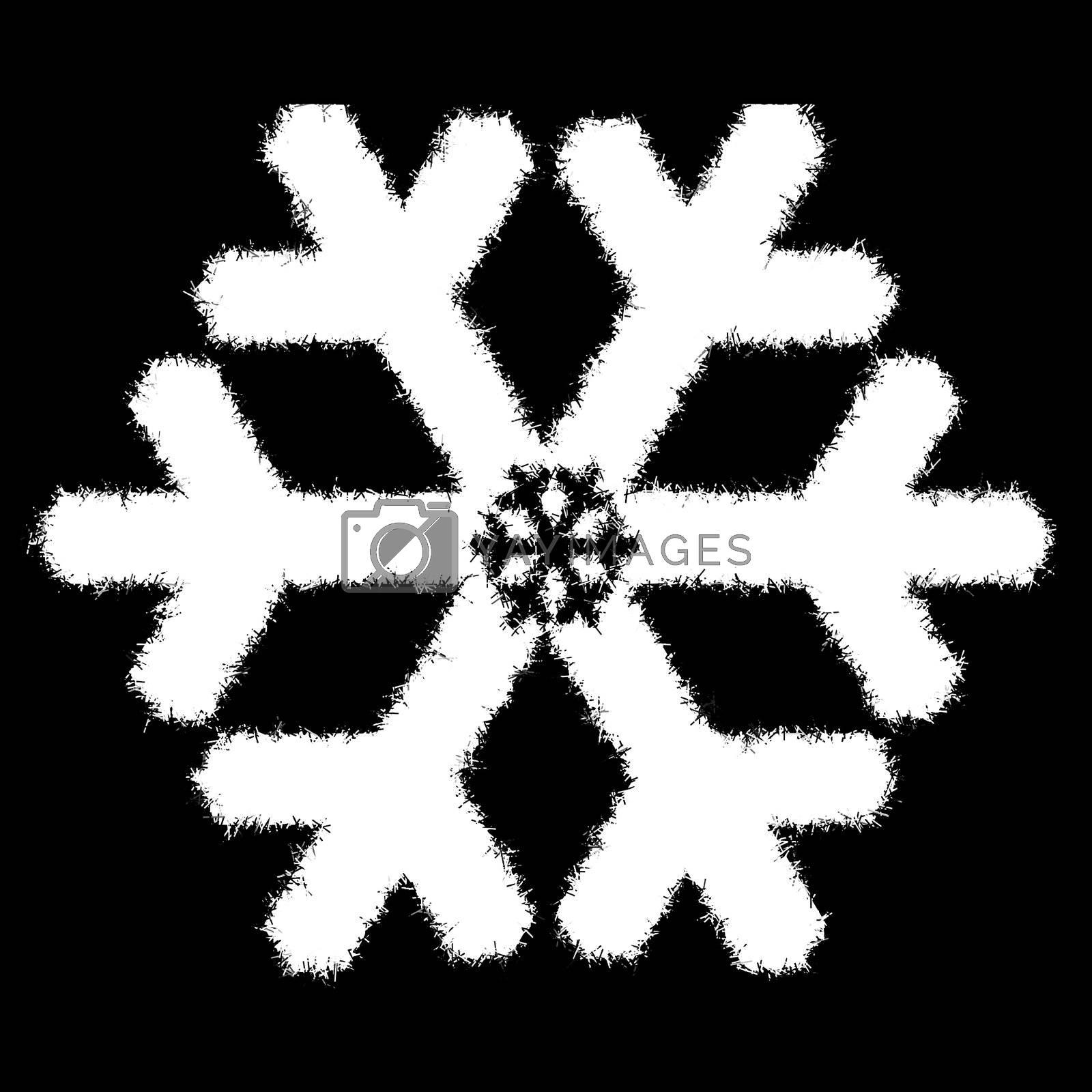 white snowflake on black background. Christmas snowflake.