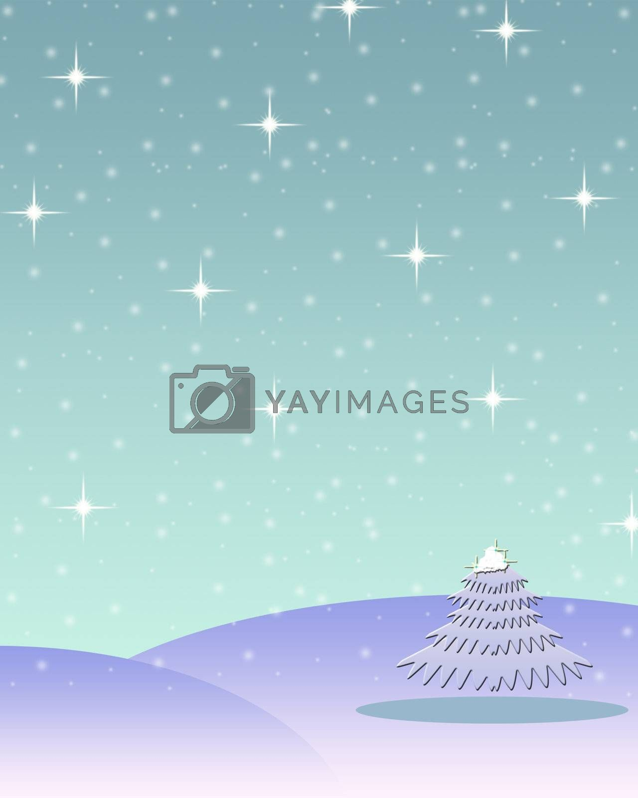 Night in winter wood. A Christmas fairy tale. A Christmas background.