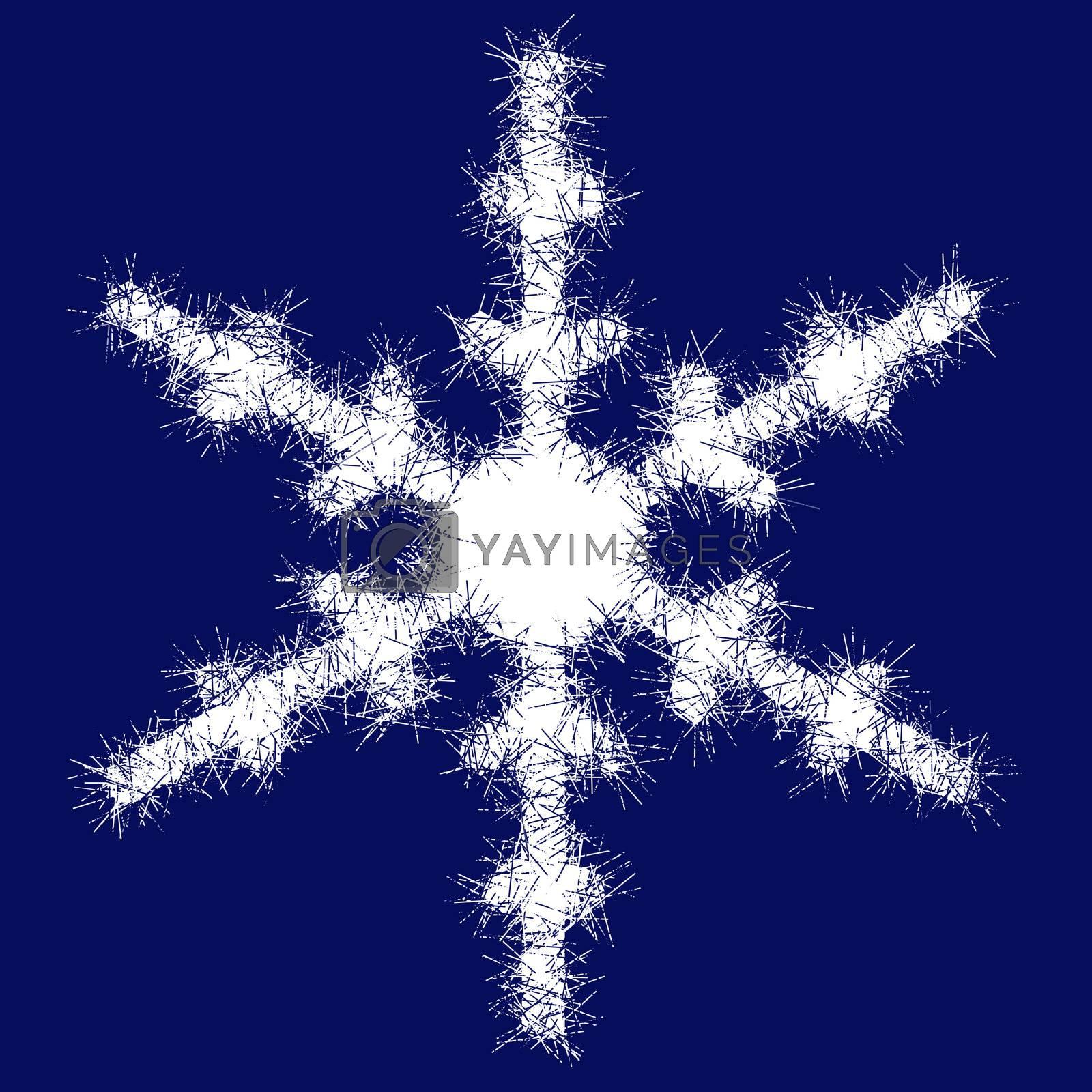 White snowflake on a dark blue background. A Christmas snowflake.