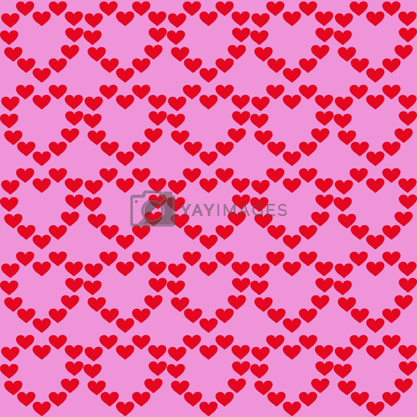 Background from hearts. Red hearts on a pink background.
