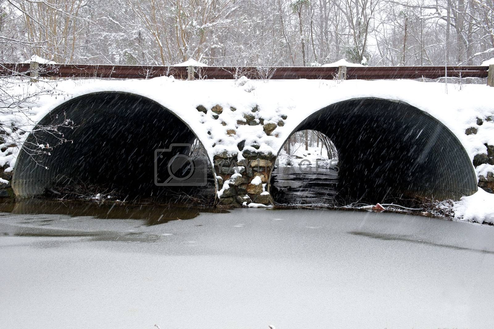 Snow covered storm water drainage tunnel in Richmond, Virginia during the winter storm in December 2009.