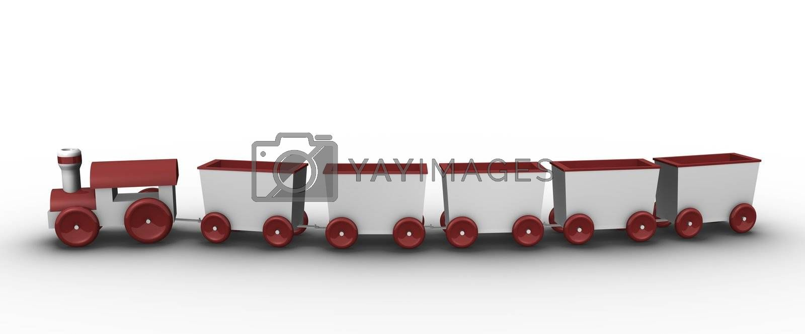 Toy train with 5 carriages; 3D rendered illustration.