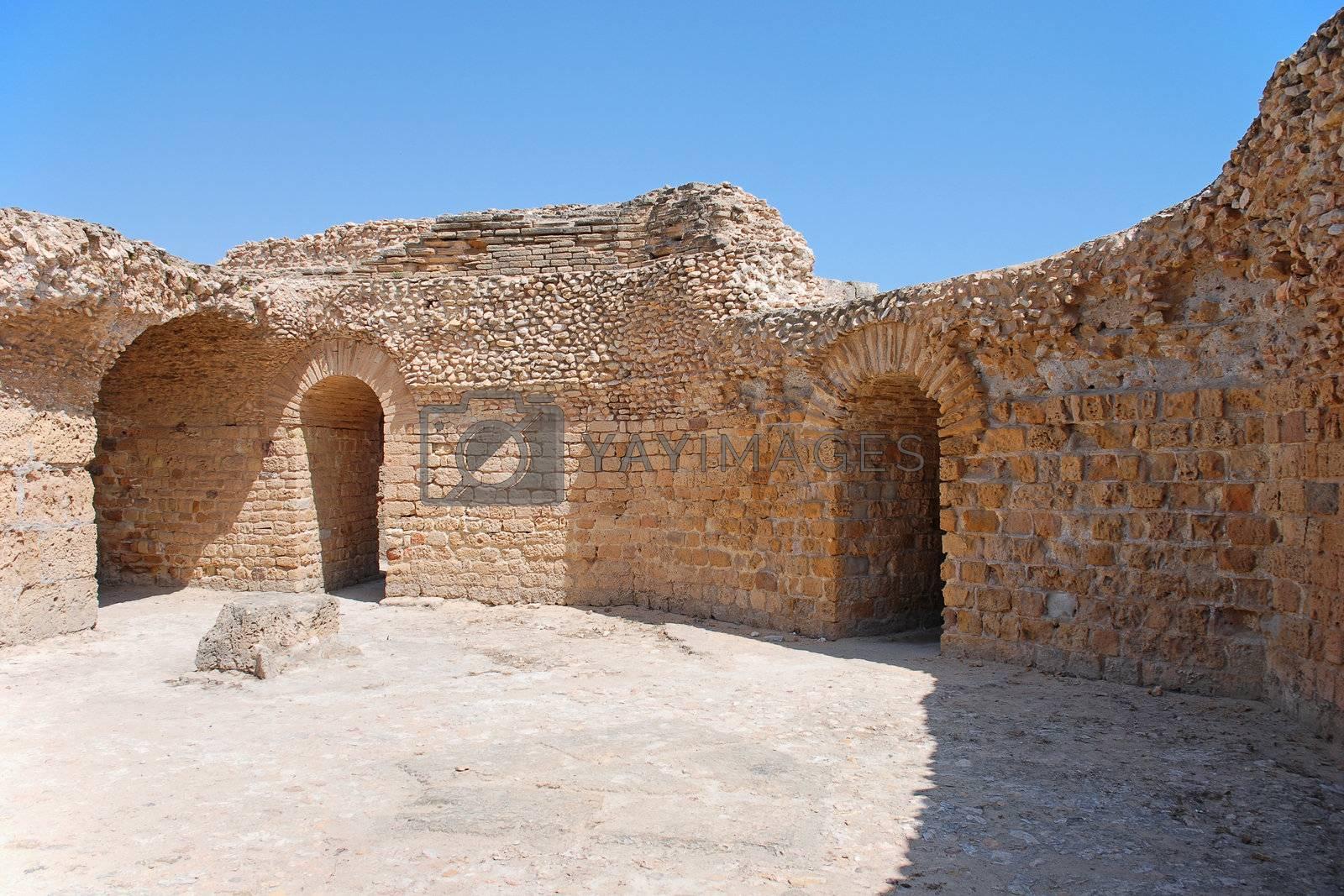 Ancient Ruins of the Baths of Antoninus Pius in Carthage, Tunisia. The UNESCO World Heritage.