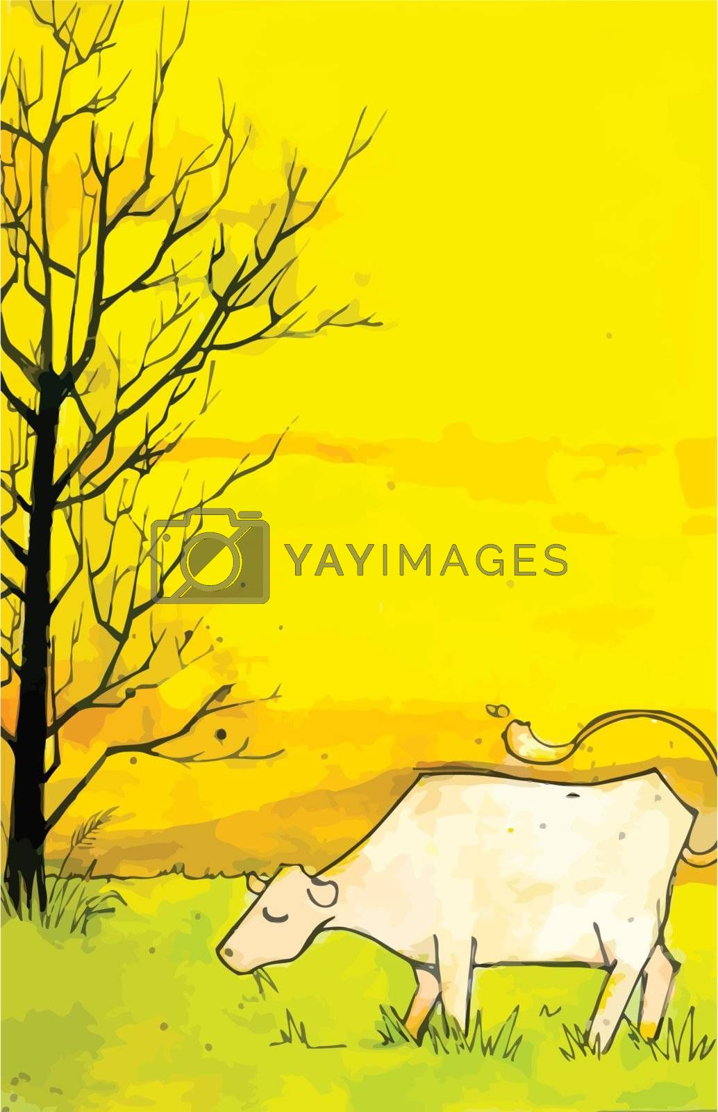 High detailed hand drawn based illustration of a cow in a field. Vector Image
