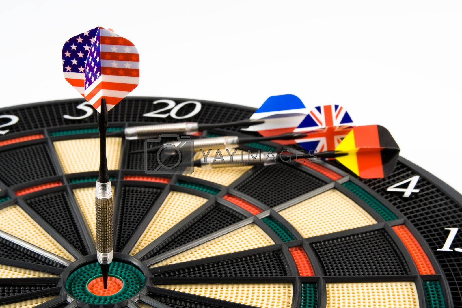 American dart in center of target. Isolated.