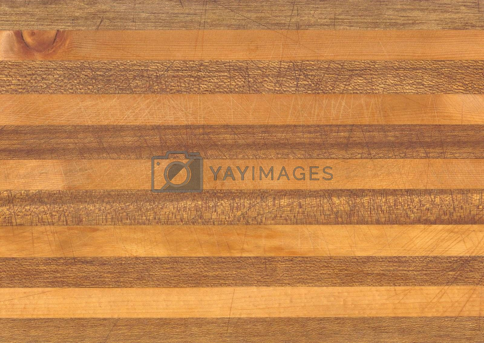 Butcher block background with scratches and knife marks