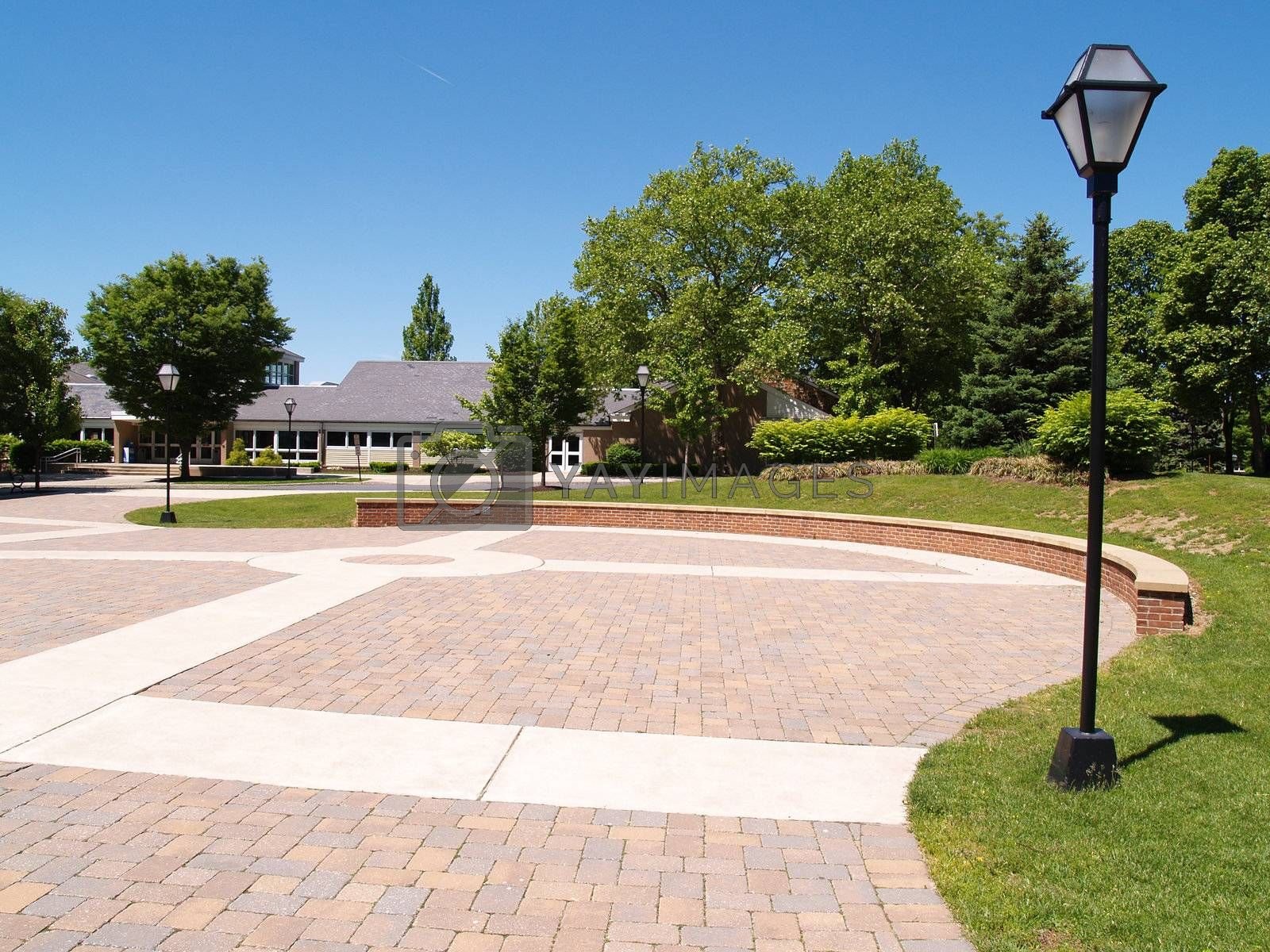 large empty brick area on a college campus