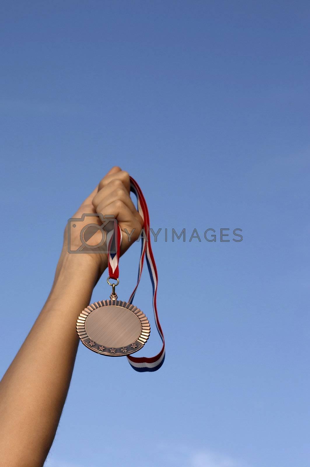 hand holding award in sky