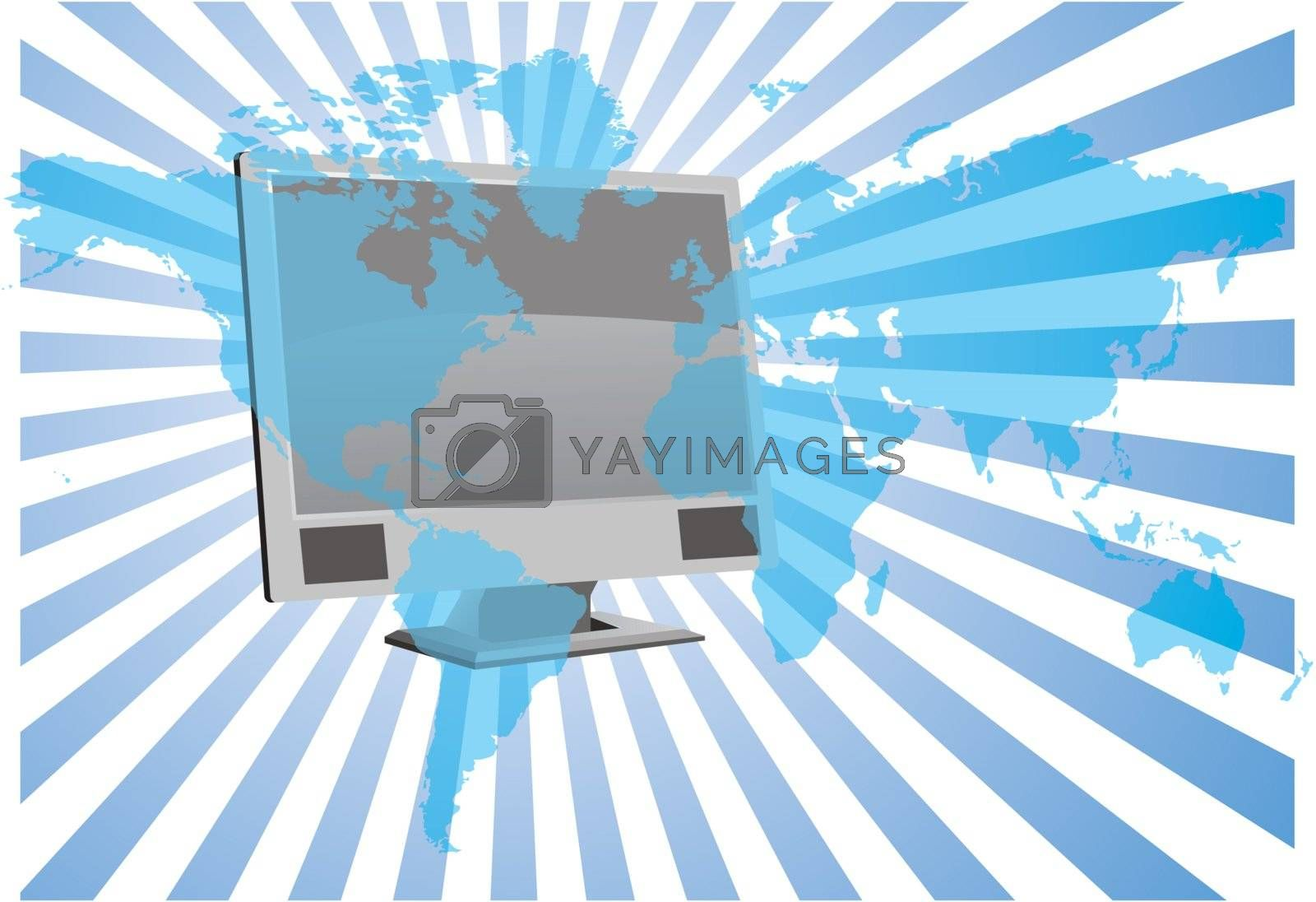 LCD with world background - vector