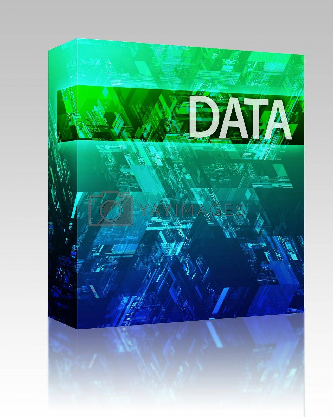 Software package box Data internet abstract illustrating electronic information concepts