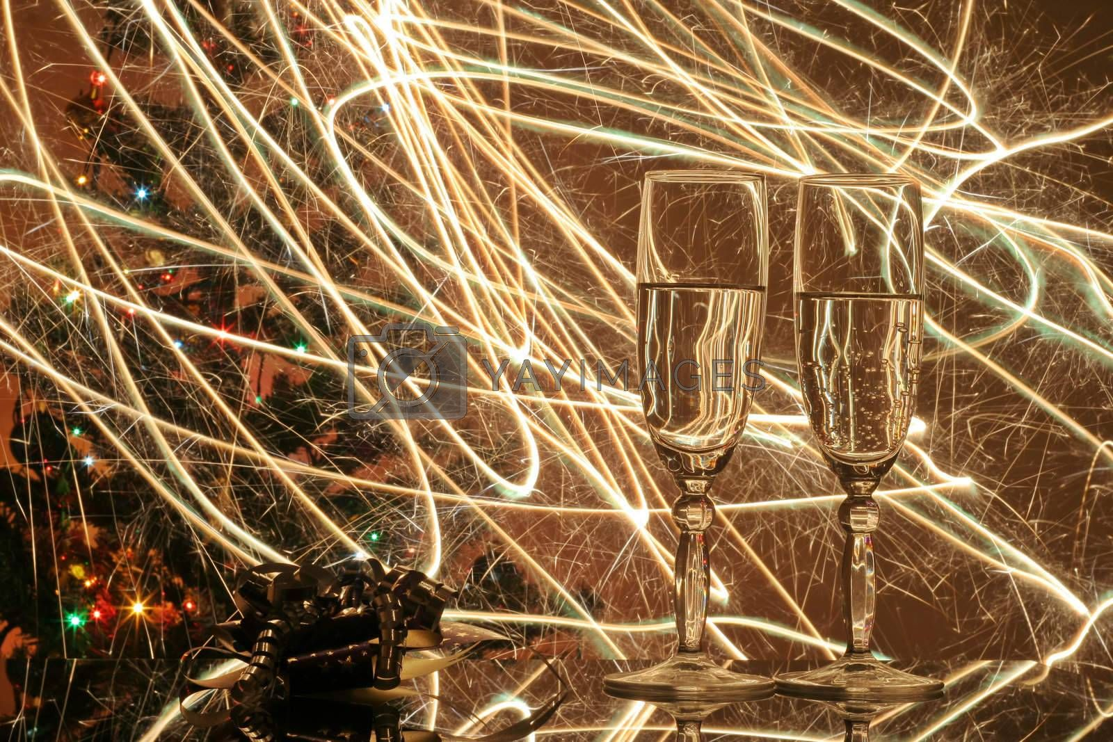 Two glasses of wine with abstract background