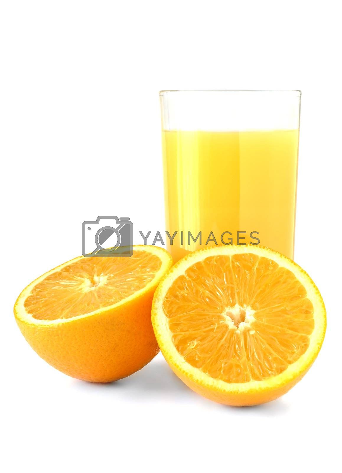 glass of fresh orange juice set against white with two halves of orange