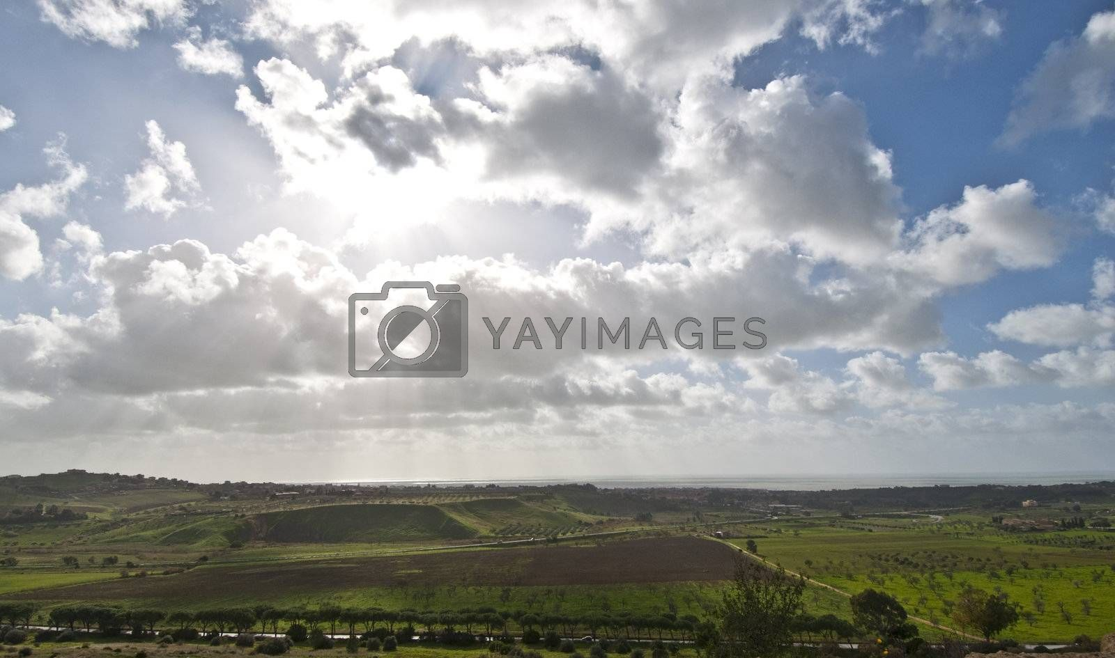 Panorama of a valley in a clearing after a storm