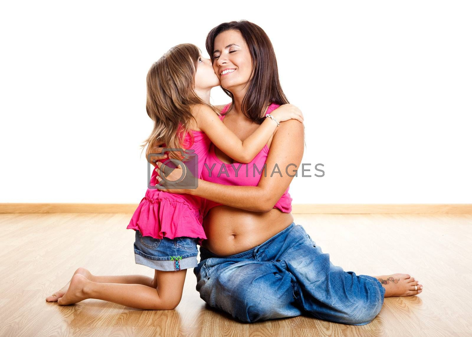Pregnant woman with her daughter by Iko