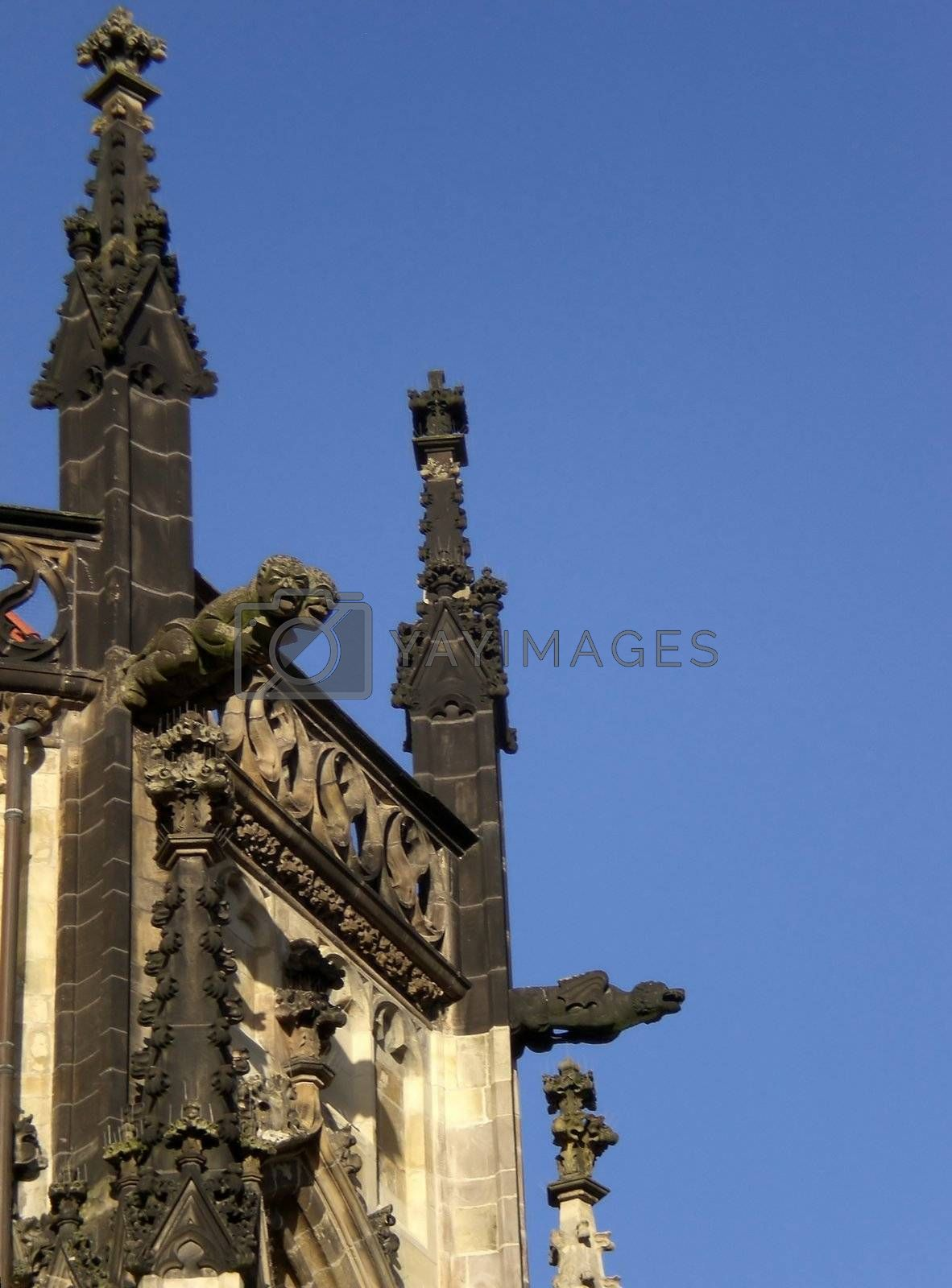 Gargoyles at a gothic church roof