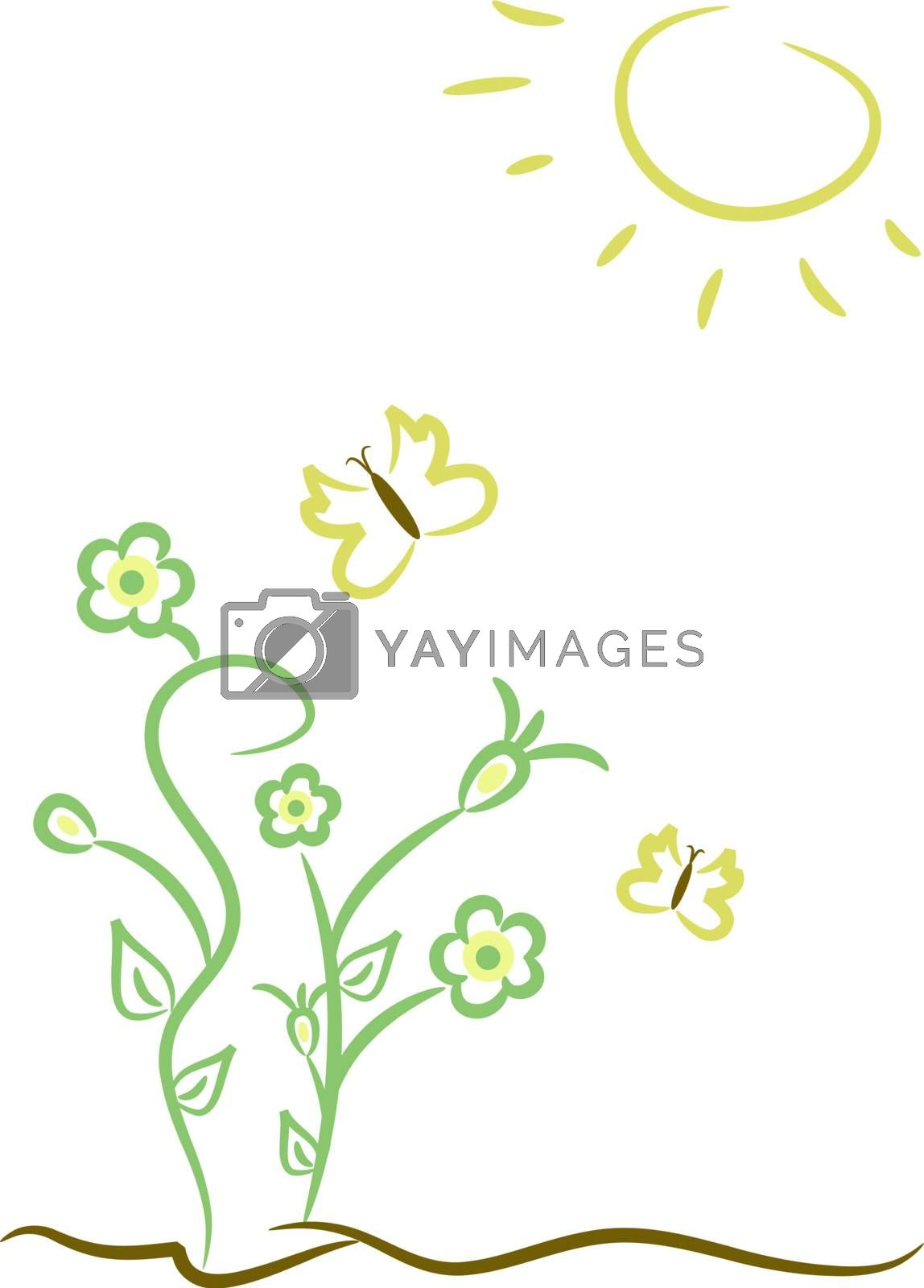 Pastel-colored illustration of flower, butterflies and sun
