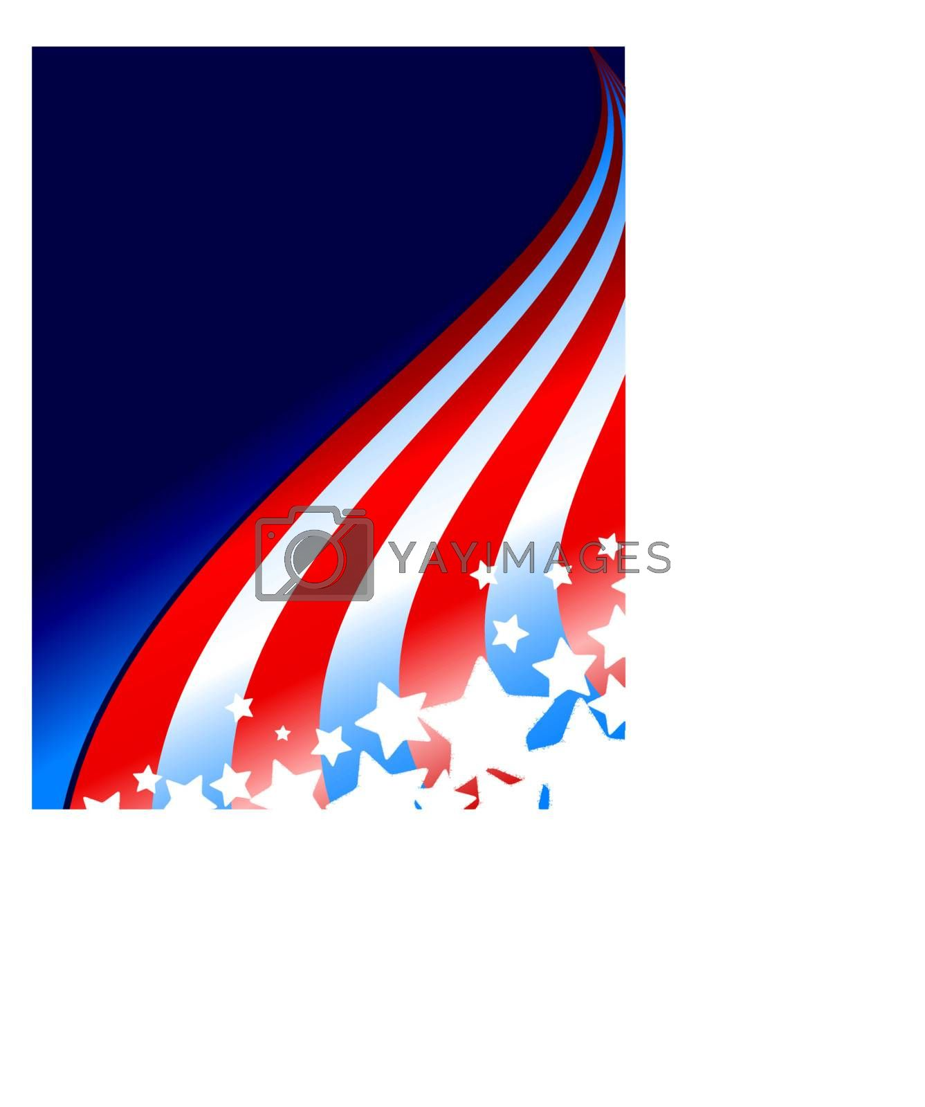 Illustration for the 4th of July, Flag Day or Memorial Day featuring stars and stripes