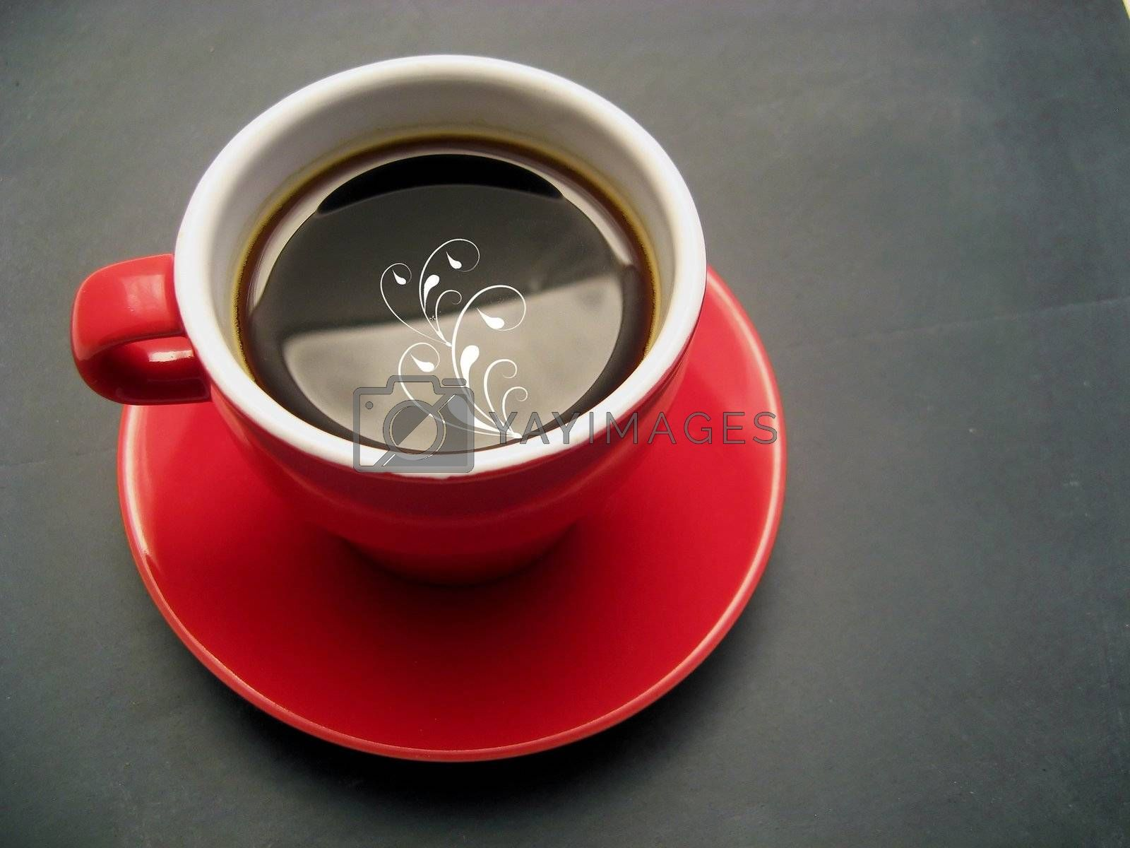 Red cup with black coffee