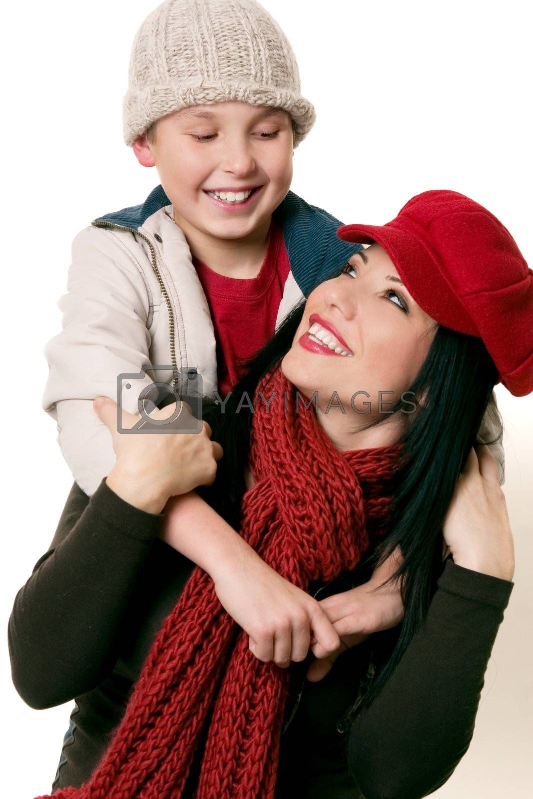 Happily smiling mother and son enjoying time together