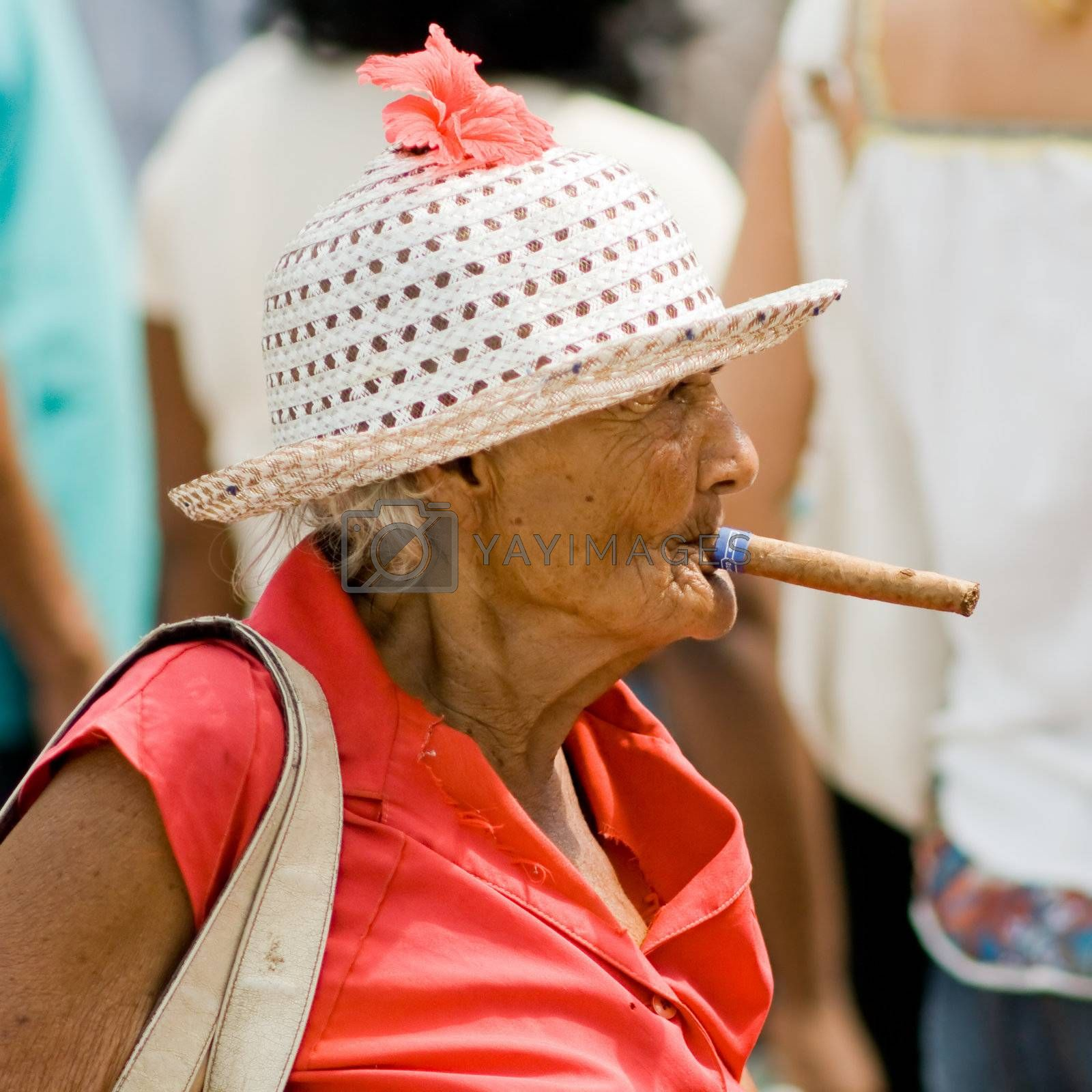 Old wrinkled woman smoking cigar. January 2008, Santiago-de-Cuba. #2