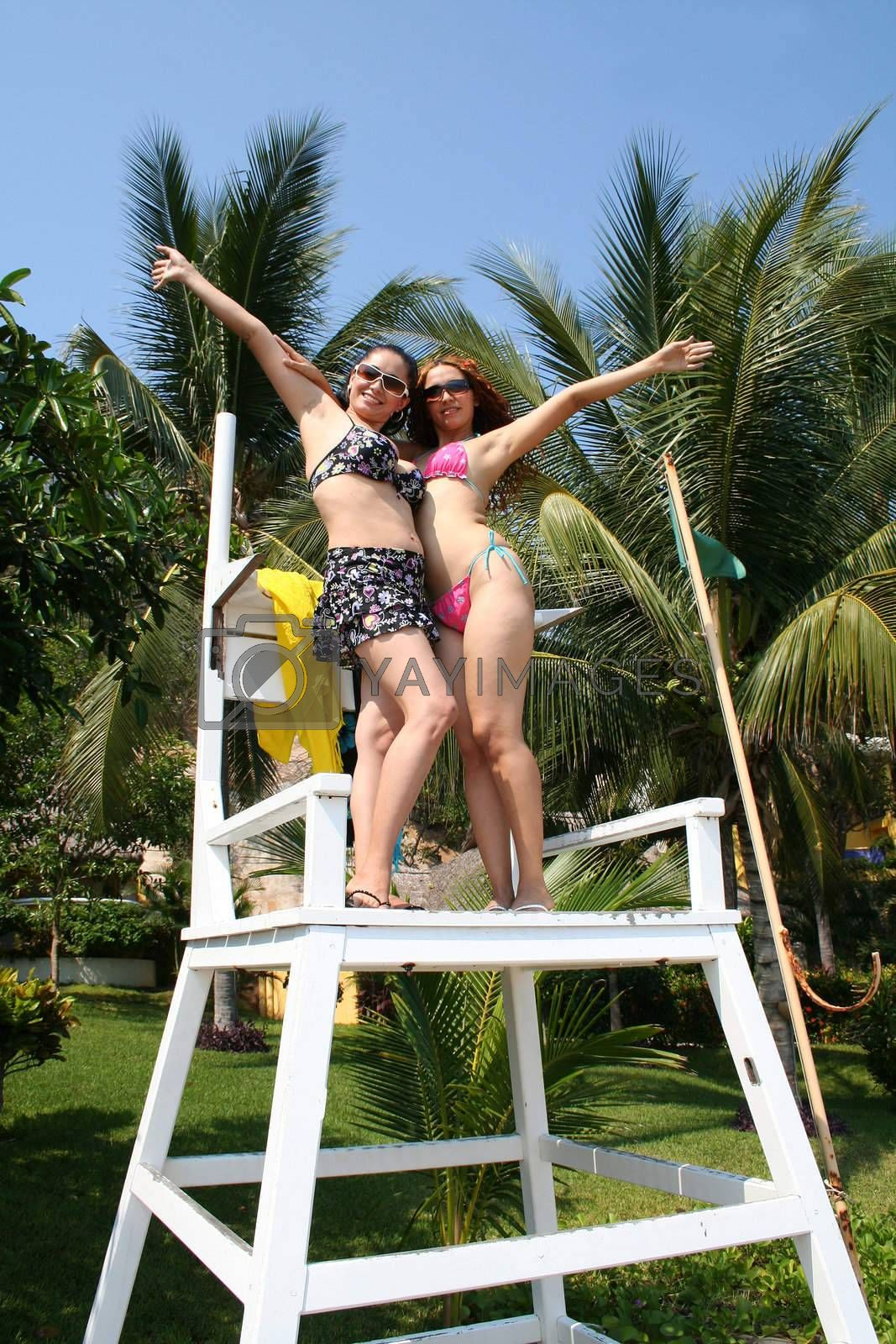 2 friends on lifeguard tower