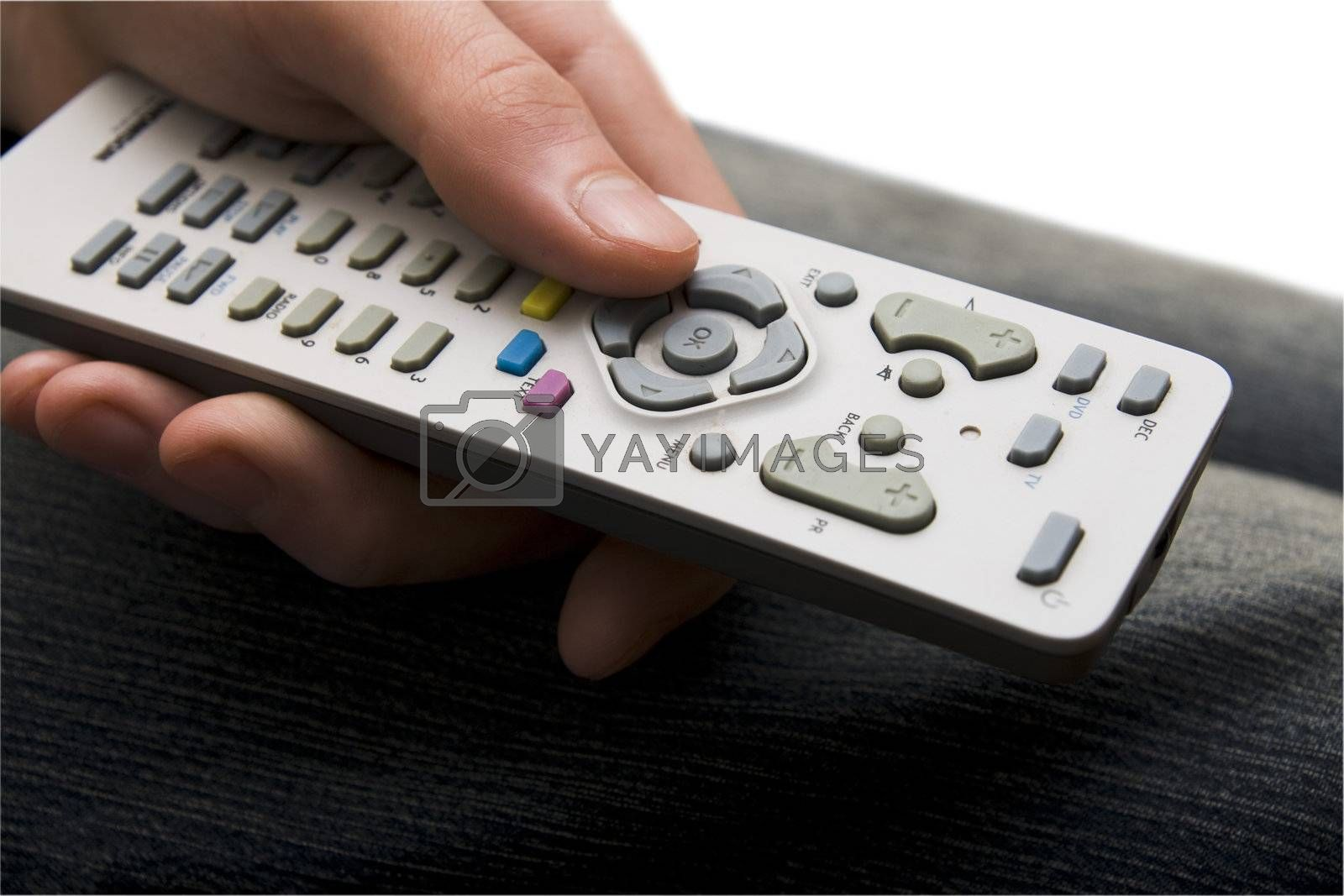 Remote control with finger changing channels