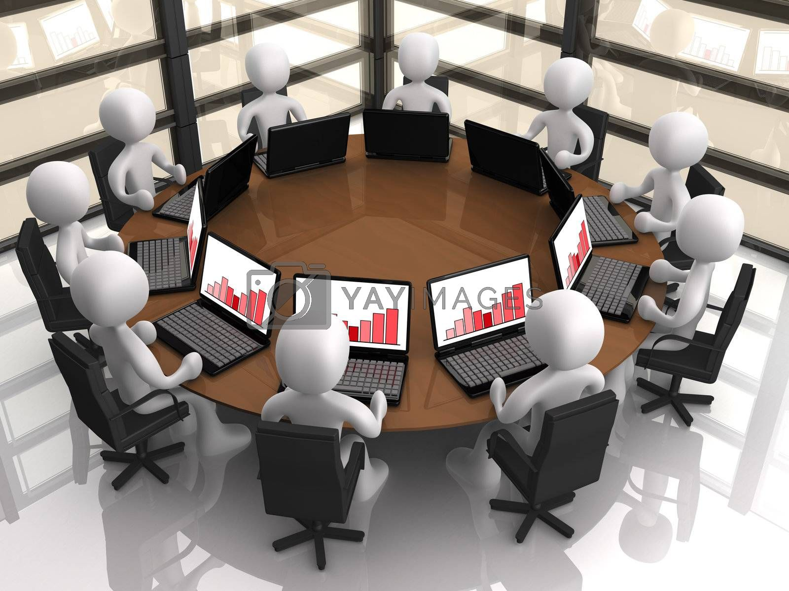3d people having a corporate meeting in their company's office.