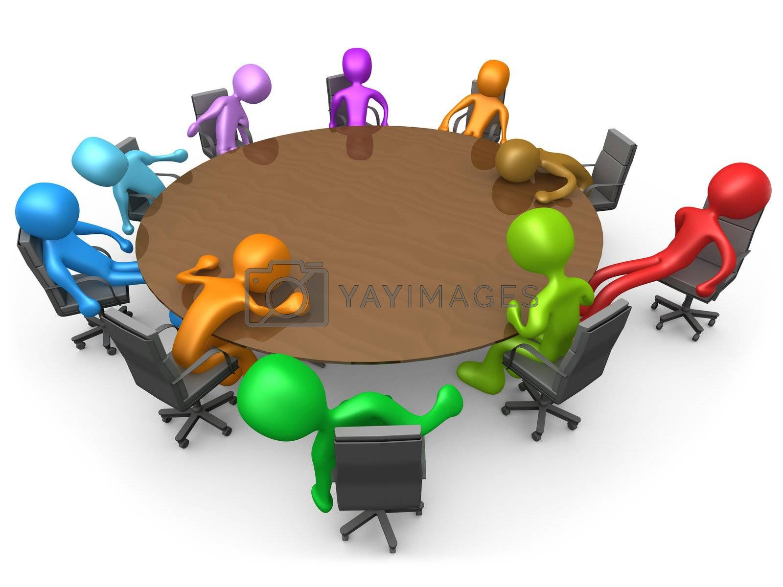 3d people sitting exhausted around a meeting table .