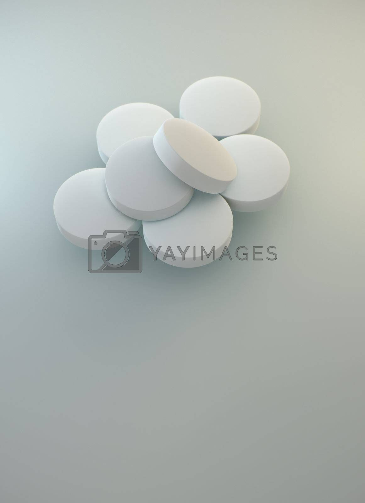 Few pharmaceutical white tablets on neutral background with soft shadows. 3D rendering realistic illustration.