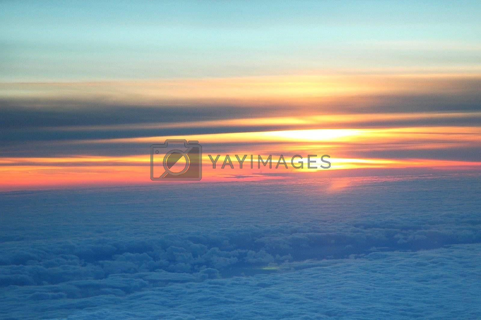 Airborne sunset by photopierre