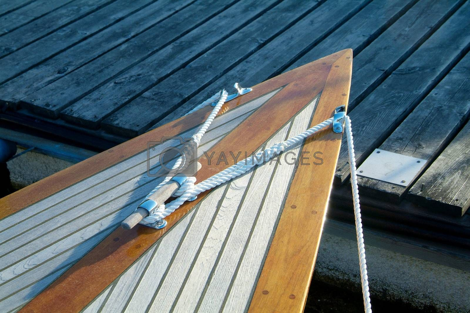 Bow of classic sailboat by epixx