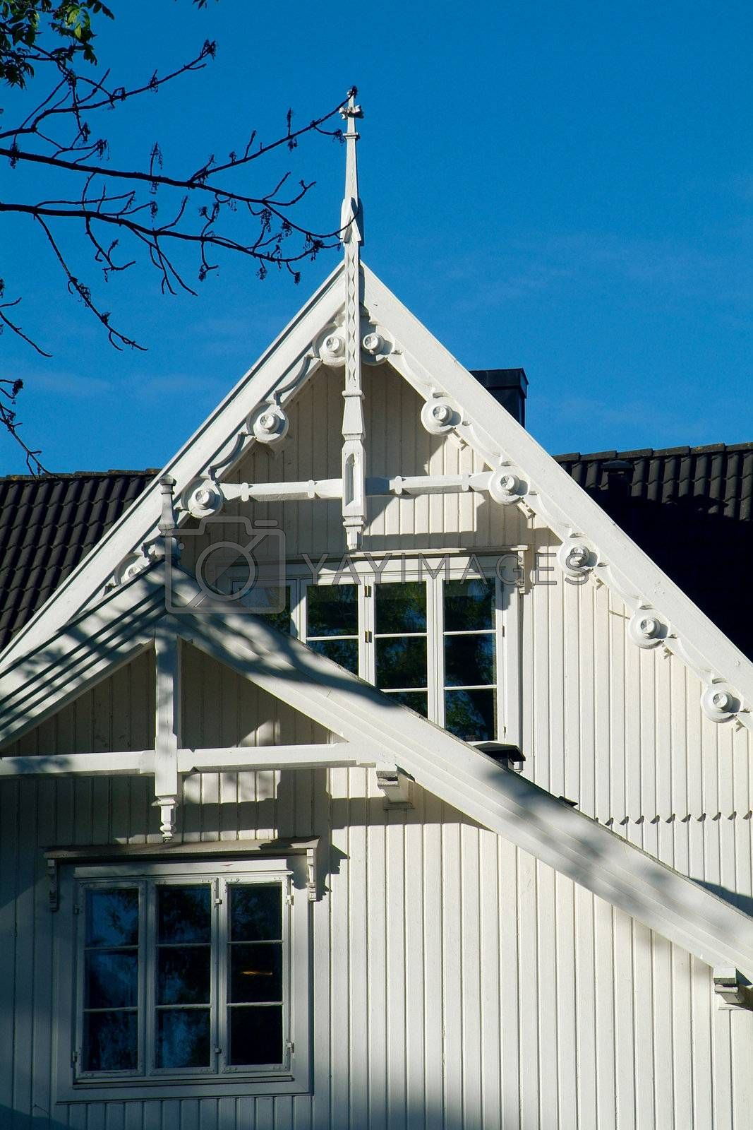 Detail of classic,  wooden house by epixx