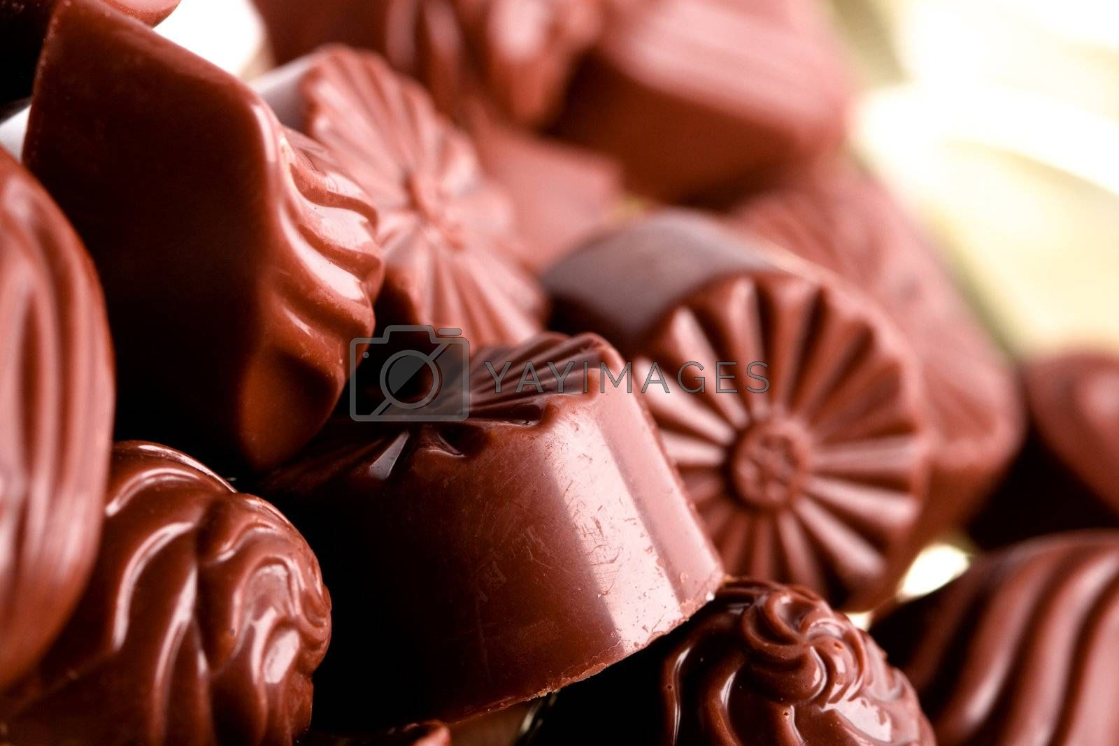 macro image of chocolate sweets. closeup.