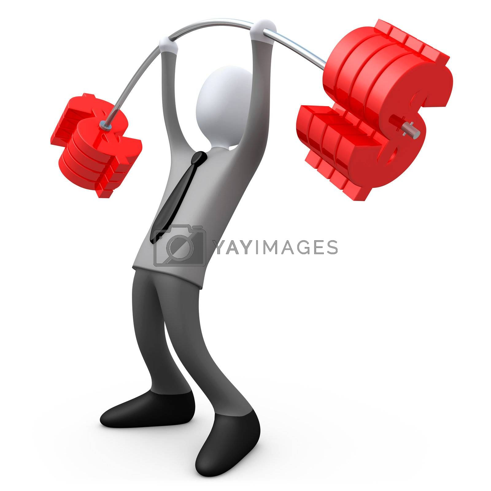 3d business person lifting dollar-shaped weights .