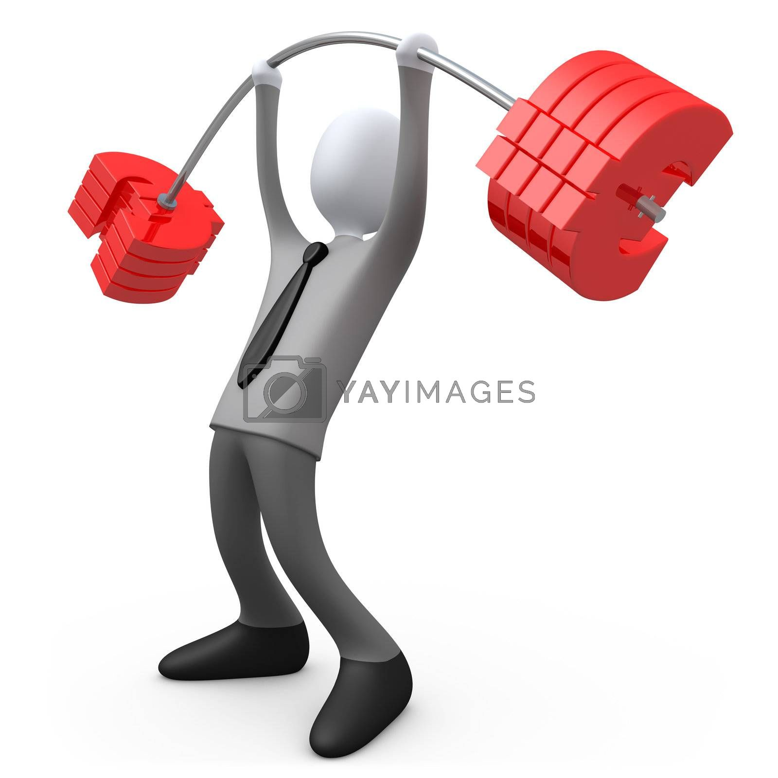 3d business person lifting euro-shaped weights .