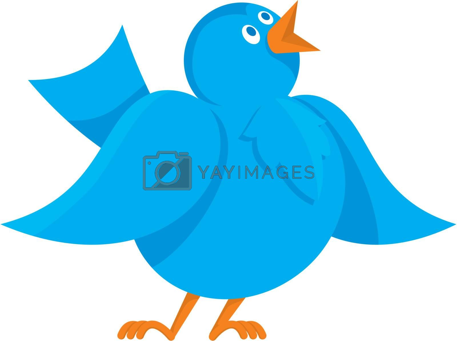 Cartoon illustration of funny cheerful blue bird communicating