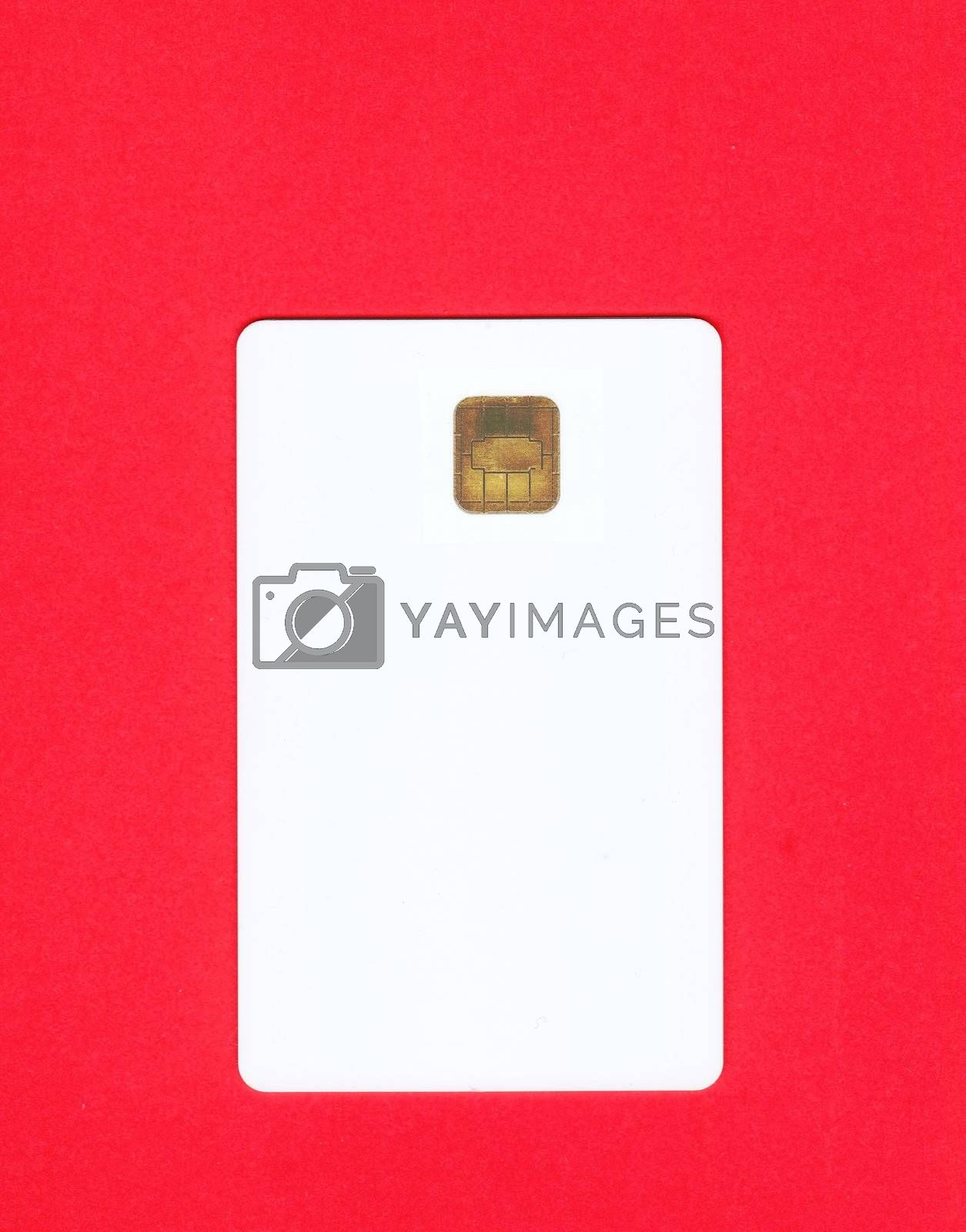Empty white credit card on red background