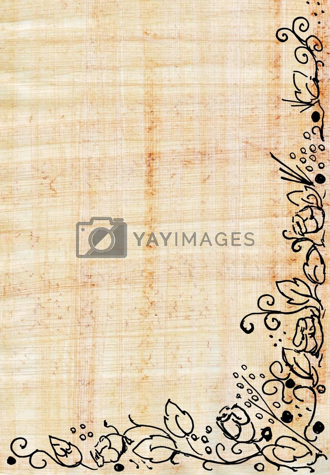 Papyrus with rose frame