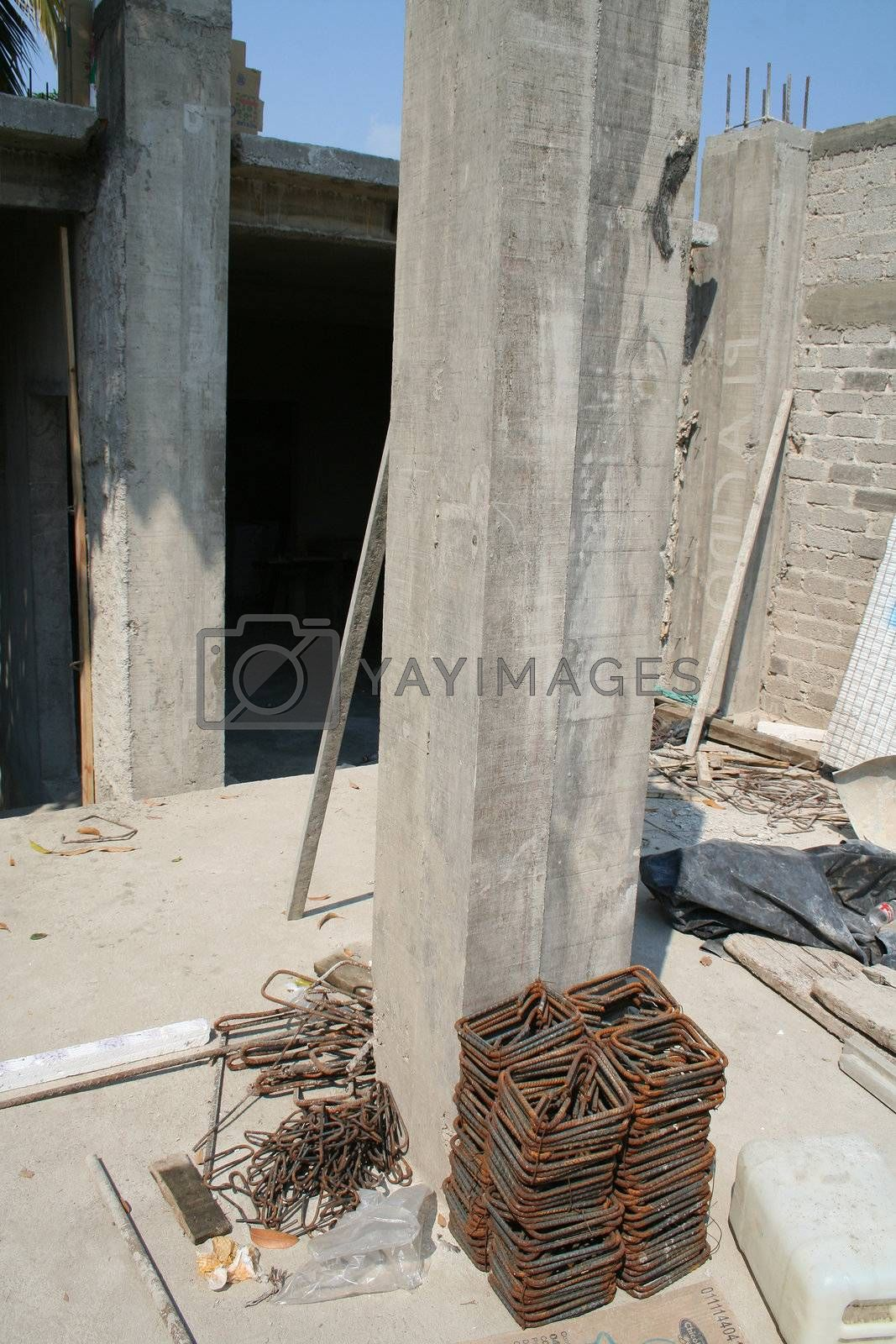 Concrete construction with materials