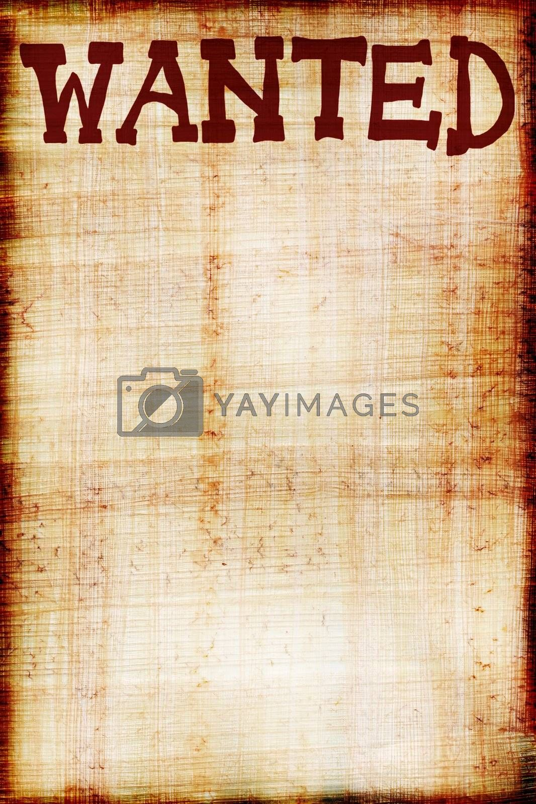 Wanted sign on papyrus background