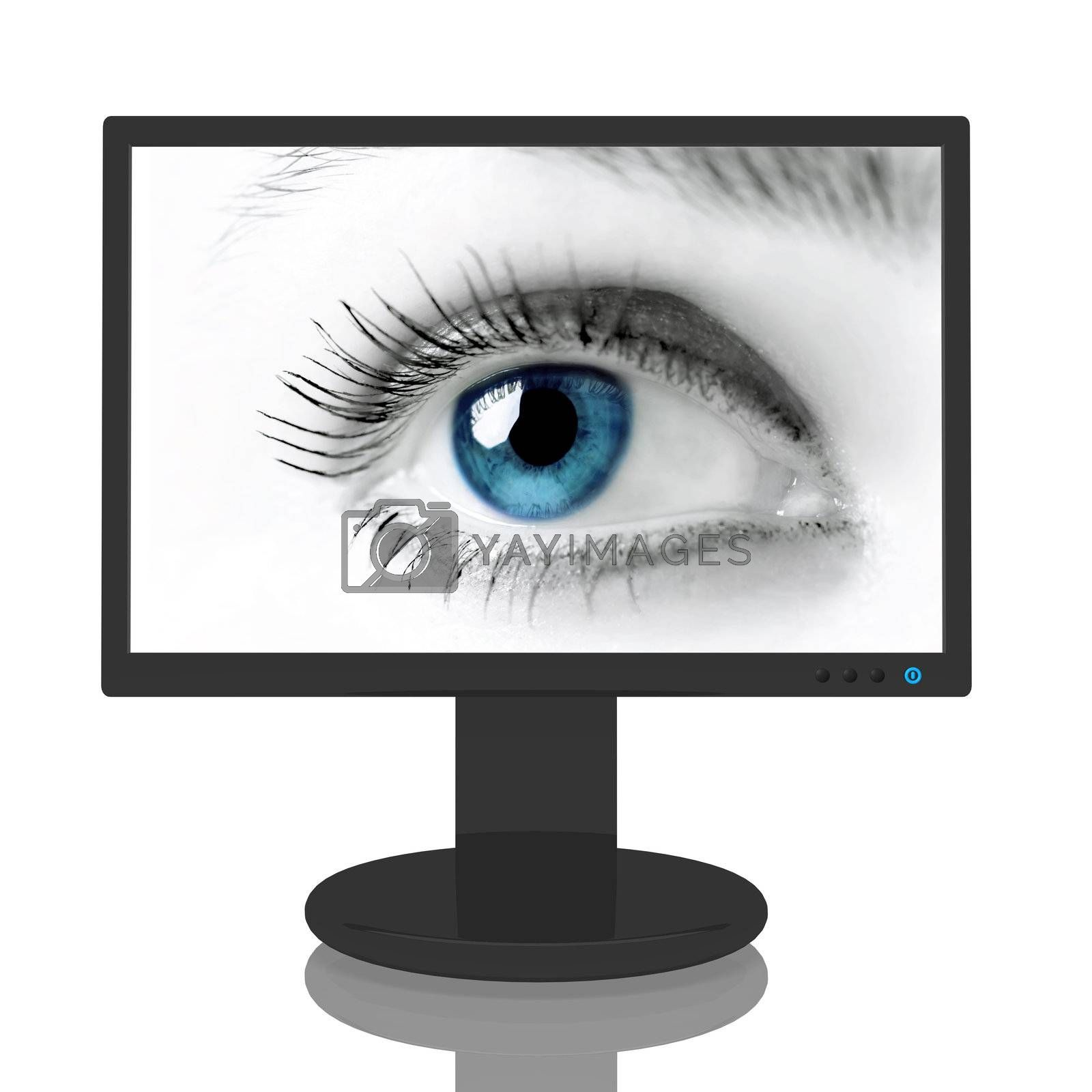 Computer screen with image of a blue eye.