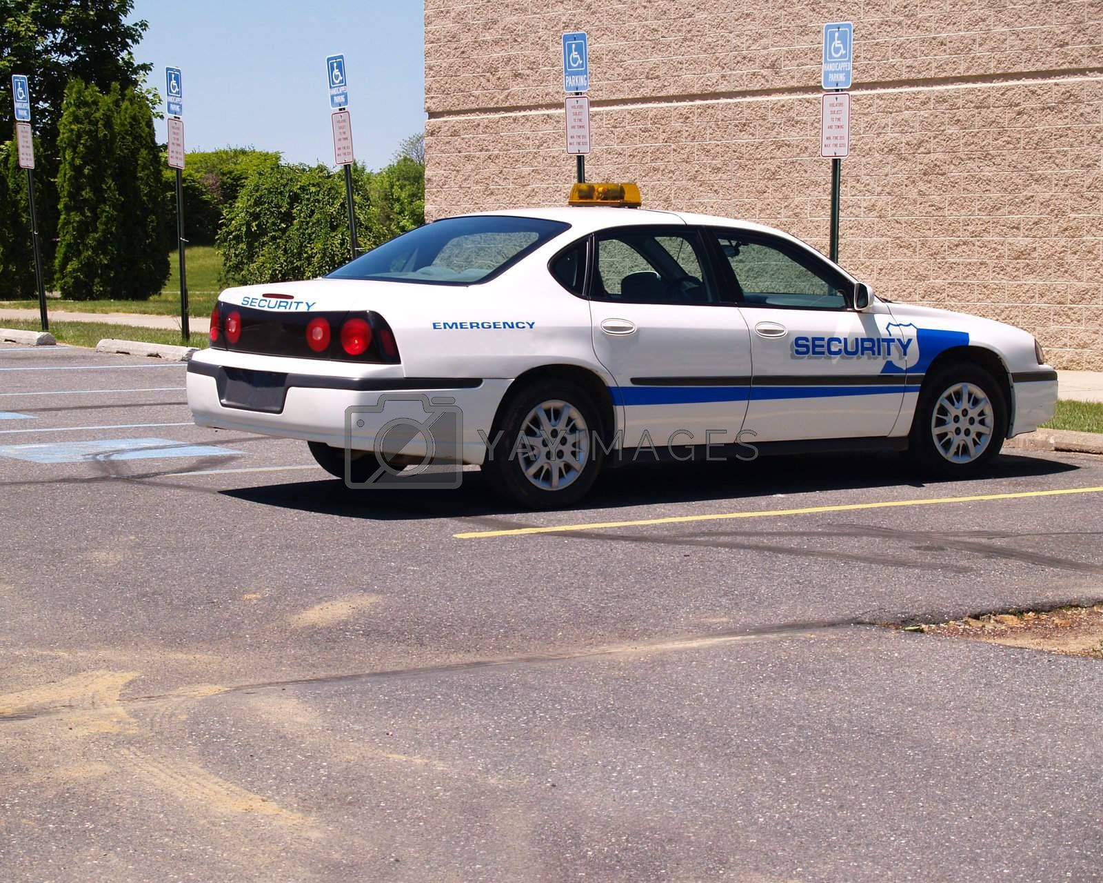 a campus security car sitting in a parking lot