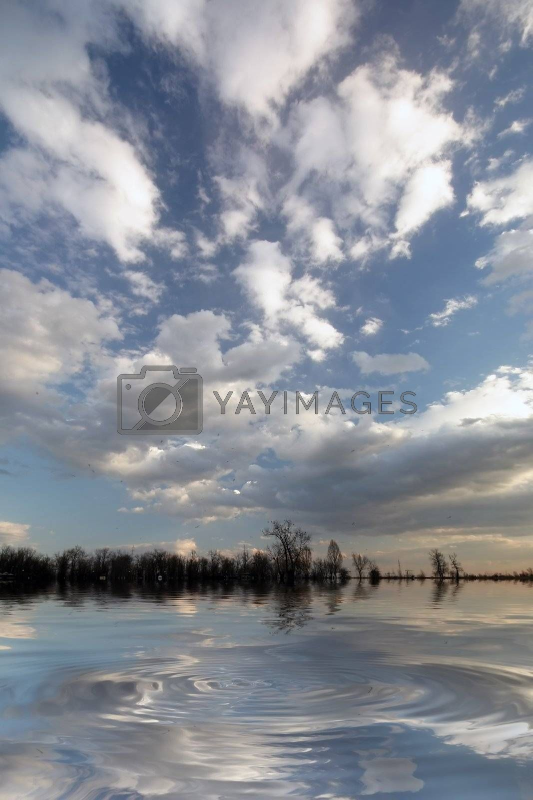 Beautiful sky with clouds and reflection