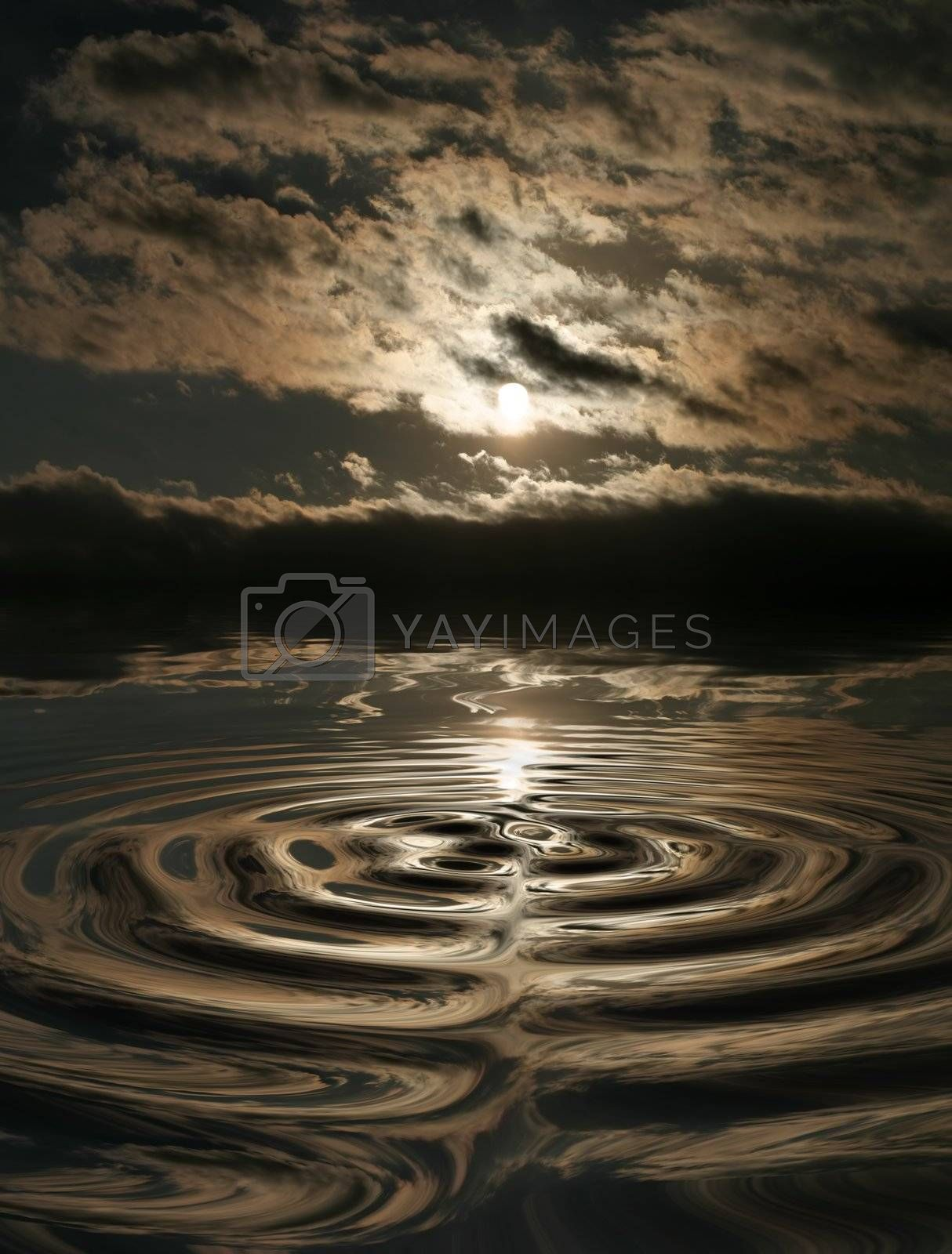 Stormy clouds with reflection in water