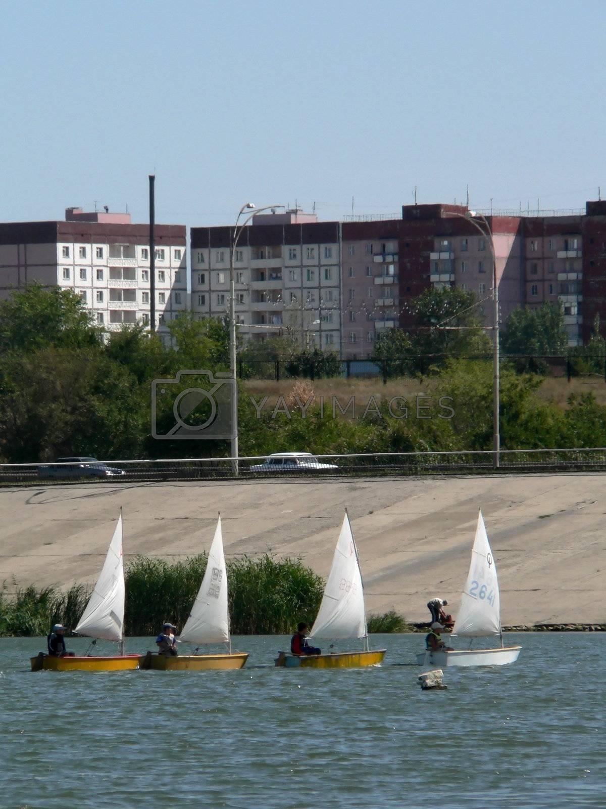 Sailing regatta on lake