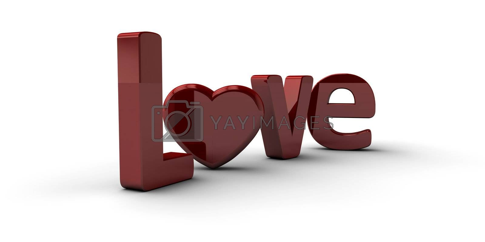 A 3d render of love with a heart as letter o