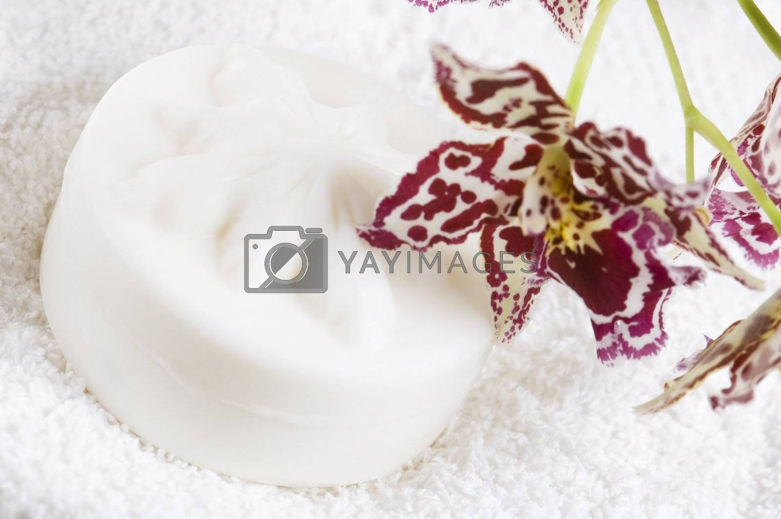 Spa items with white towels, natural soap and orchid by joannawnuk