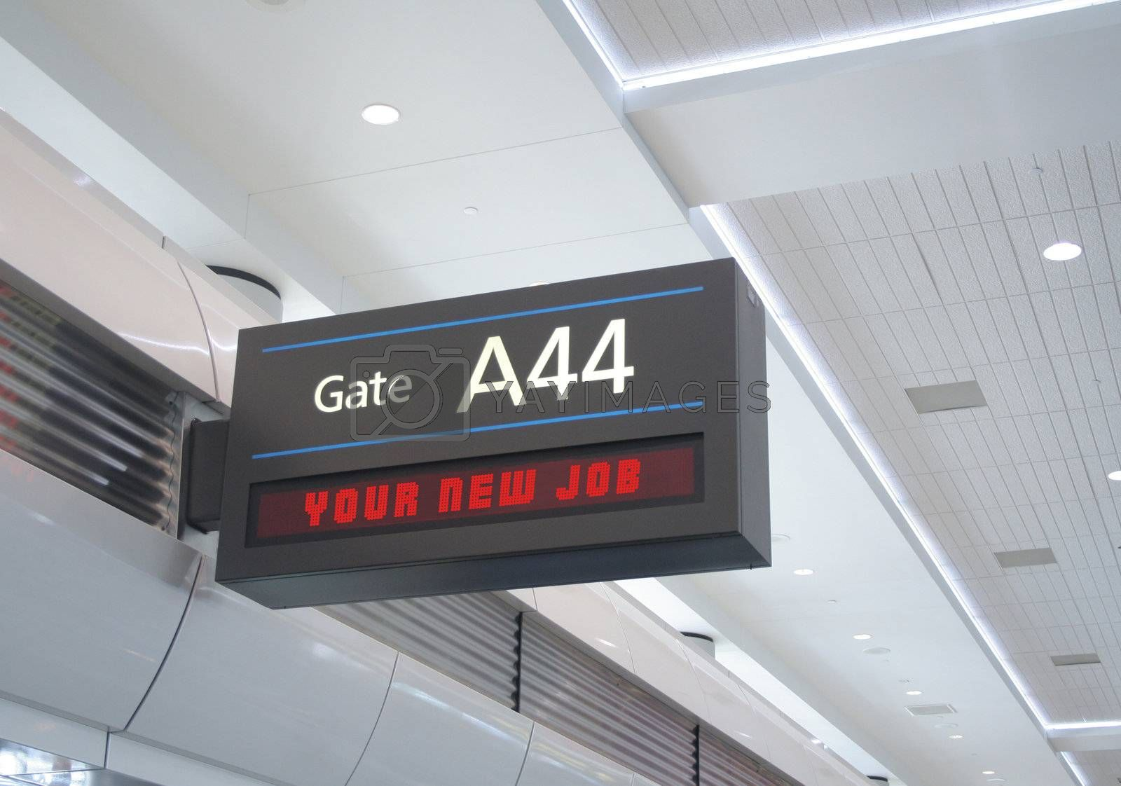 Gate sign with destination read out