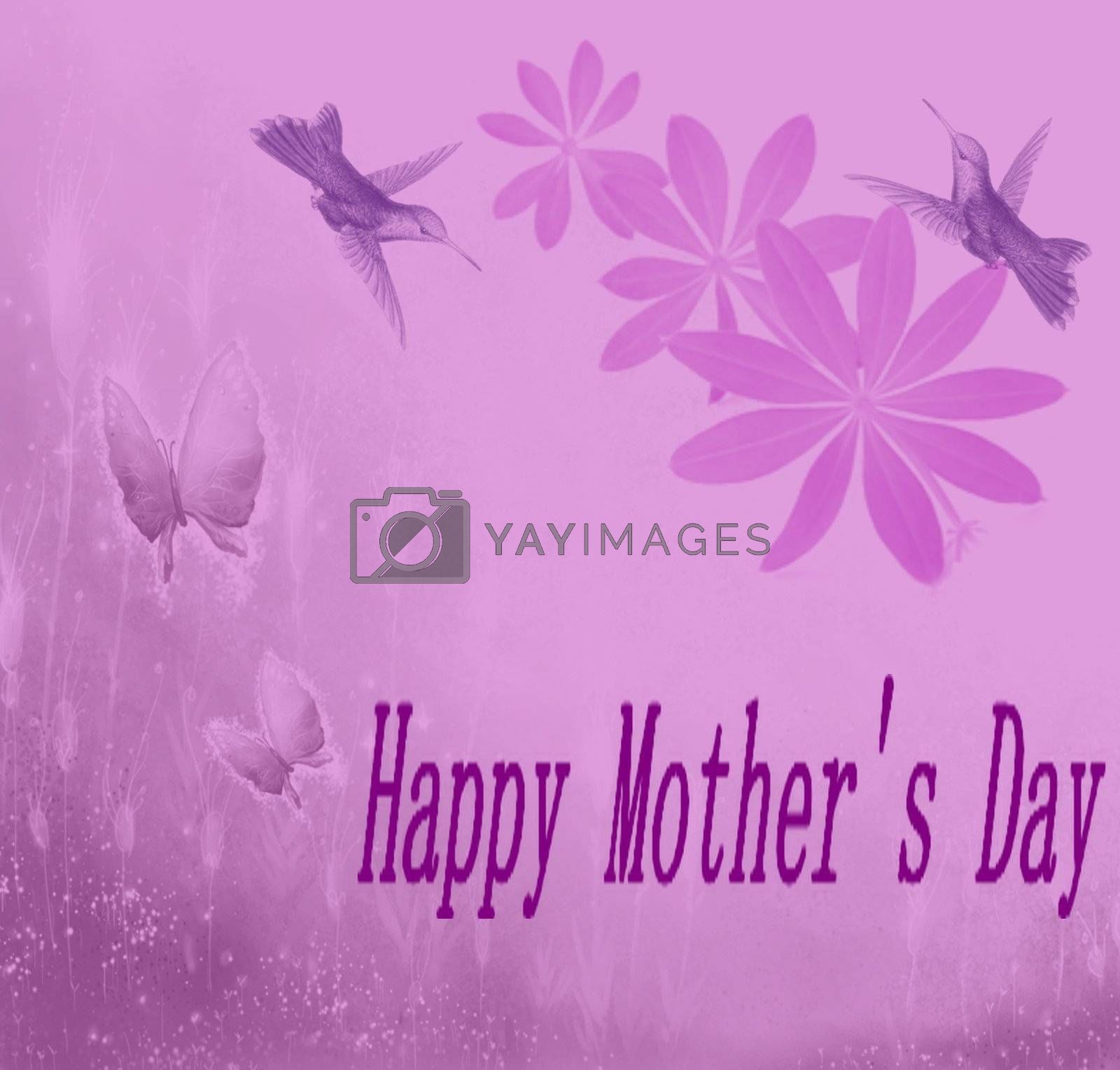 Mother's day card surrounded by humming birds and butterflys