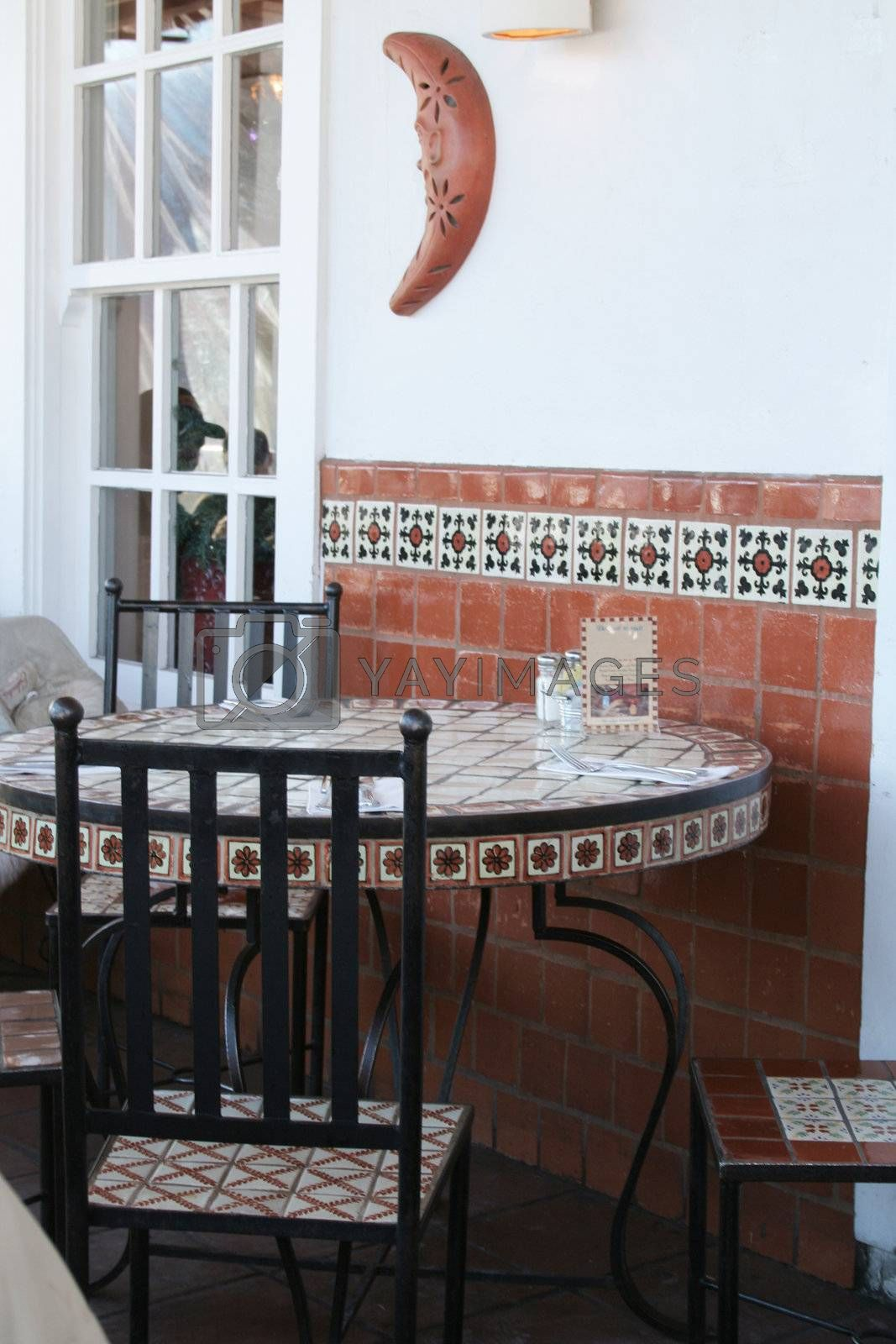 Southwest style table with artistic tiles